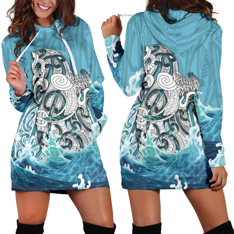 Maori Manaia The Blue Sea Hoodie Dress K5 - 1st New Zealand