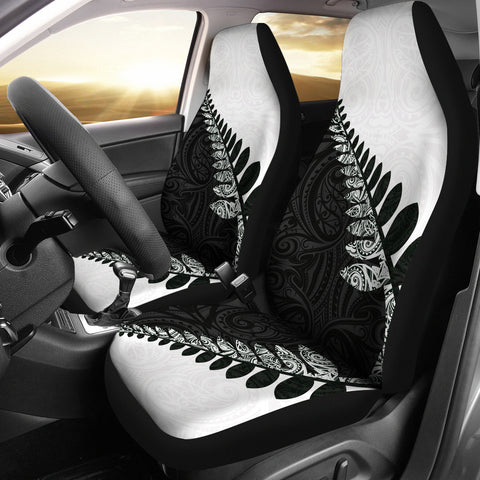 New Zealand Silver Fern Car Seat Covers Black White K4 - 1st New Zealand