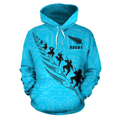 Rugby Haka Fern Hoodie Blue front