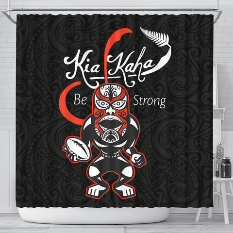 Image of Rugby Kia Kaha Be Strong Shower Curtain Black K40