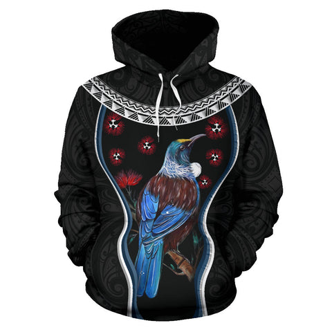 Image of New Zealand Tui Bird Hoodie, Pohutukawa Pullover Hoodie - Black K4 - 1st New Zealand
