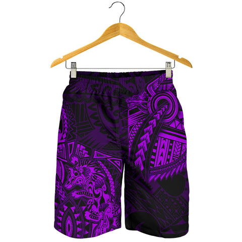 New Zealand Maori Polynesian Wolf Dragon Tattoo Men Shorts - Purple K4