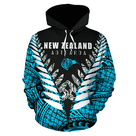Image of New Zealand Aotearoa Silver Fern Hoodie - Blue Vline Version front