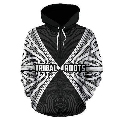 Image of Maori Aotearoa Tribal Roots Hoodie White K4 - 1st New Zealand