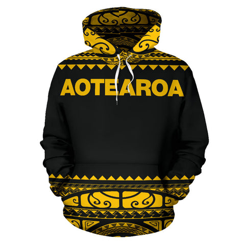Image of New Zealand Maori Hoodie, Aotearoa Silver Fern Pullover Hoodie - Yellow K4x - 1st New Zealand