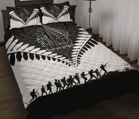 New Zealand Anzac Quilt Bed Set, Lest We Forget Silver Fern Quilt And Pillow Cover K4 - 1st New Zealand