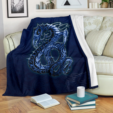 New Zealand Maori Blanket, Blue Manaia Throw Blankets Th5 - 1st New Zealand