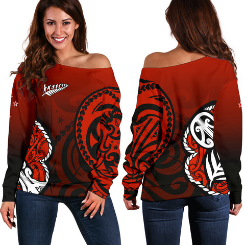 Image of Lest We Forget - Maori Poppy Pullover Off Shoulder Sweater Th00 - 1st New Zealand