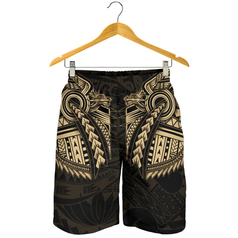 Image of New Zealand Maori Polynesian Dragon Tattoo Men Shorts - Gold K4 - 1st New Zealand