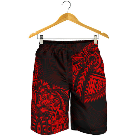 New Zealand Maori Polynesian Wolf Dragon Tattoo Men Shorts - Red K4