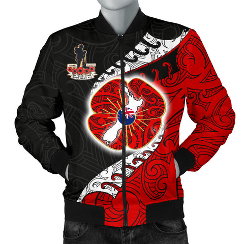 Anzac New Zealand Men Bomber Jacket  - Lest We Forget Poppy Map Silver Fern NZ K4 - 1st New Zealand