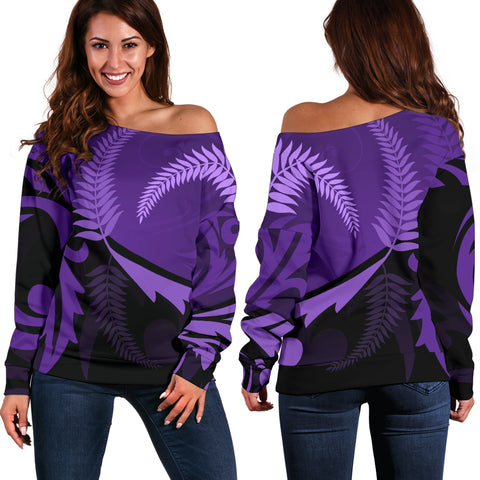 New Zealand Silver Fern Off Shoulder Sweater Purple - 1st New Zealand
