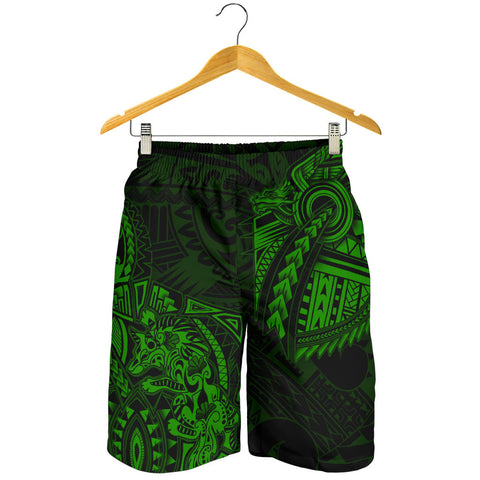 Image of New Zealand Maori Polynesian Wolf Dragon Tattoo Men Shorts - Green K4 - 1st New Zealand
