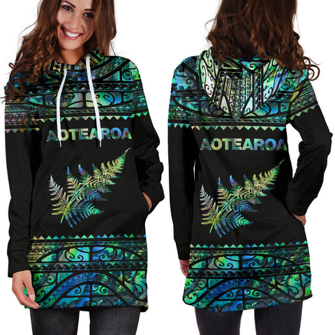 Aotearoa New Zealand Maori Hoodie Dress Silver Fern - Paua Shell K4x - 1st New Zealand