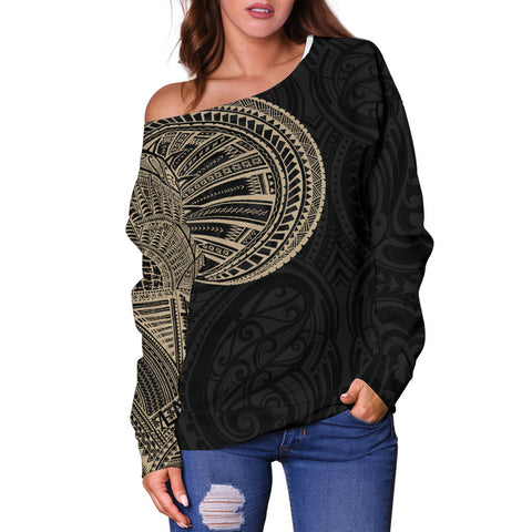 Image of Samoa Tribal Maori Tattoo Roman Reigns Off Shoulder Sweater Gold TH75 - 1st New Zealand