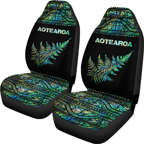 Image of Aotearoa Maori Silver Fern Paua Shell Car Seat Covers K4x - 1st New Zealand