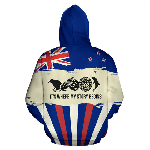 New Zealand Where My Story Begins Hoodie - With Blue color - Front - For Men and Women