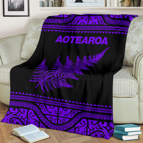Aotearoa New Zealand Maori Premium Blanket Silver Fern - Purple K4x - 1st New Zealand