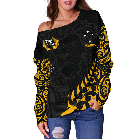 New Zealand Maori Lion Rugby Off Shoulder Sweater K5 - 1st New Zealand