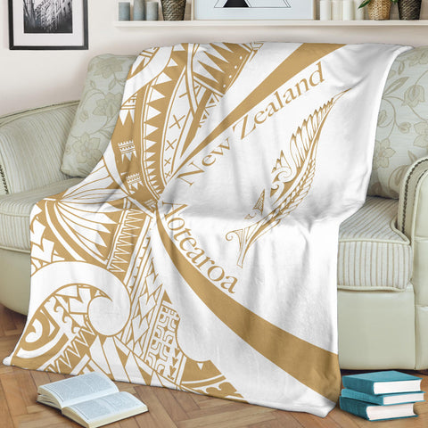 New Zealand Silver Fern Premium Blanket Maori Tattoo Circle Style - White J95 - 1st New Zealand
