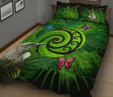 New Zealand Quilt Bed Set Koru Fern Mix Tui Bird - Tropical Floral K4 - 1st New Zealand