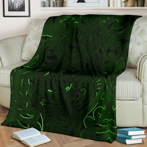 New Zealand Premium Blanket, Maori Gods Tumatauenga (God of War) - Green K4 - 1st New Zealand