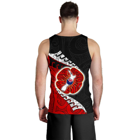 Anzac New Zealand Tank Tops, Maori Silver Fern Sleeveless Shirts K4 - 1st New Zealand
