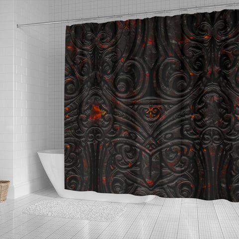 Image of New Zealand Warriors Shower Curtain Maori Tiki Vocalno Style Th00 - 1st New Zealand