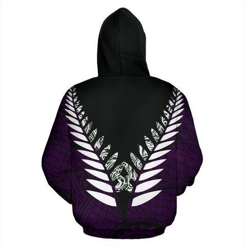 Image of New Zealand Aotearoa Silver Fern Hoodie - Purple Vline Version back