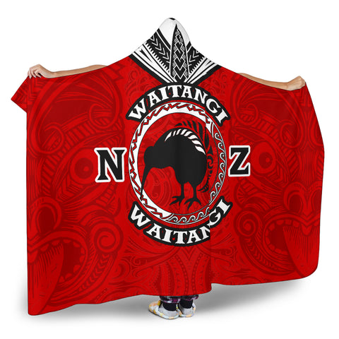 New Zealand Maori Hooded Blanket Waitangi Day - Red K5 - 1st New Zealand