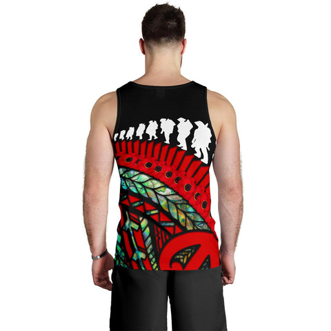 Anzac Soldiers New Zealand Men Tank Top, Poppies Lest We Forget Maori Paua K4