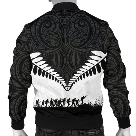 New Zealand Anzac Day Men Bomber Jacket, Lest We Forget Silver Fern K4 - 1st New Zealand