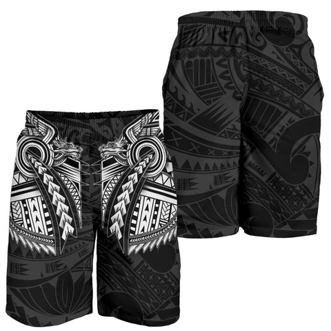 New Zealand Maori Polynesian Dragon Tattoo Men Shorts - White K4