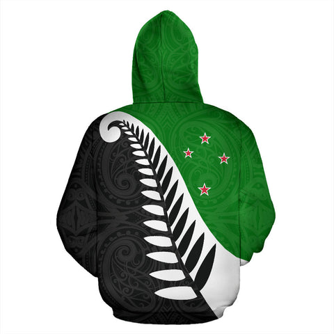 Koru Fern New Zealand Hoodie Green - Green And Black Color - Back