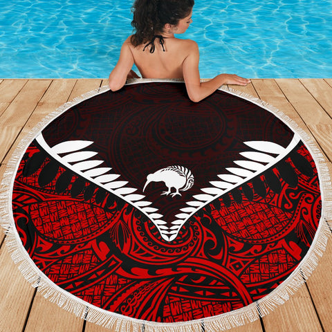 Kiwi Fern Beach Blanket Red K4 - 1st New Zealand