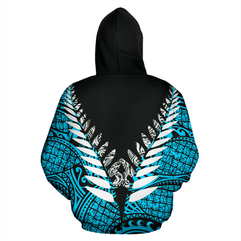 Image of New Zealand Aotearoa Silver Fern Hoodie - Blue Vline Version back