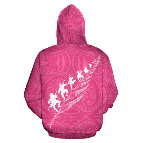 Image of Rugby Haka Fern Hoodie Pink K4 - 1st New Zealand