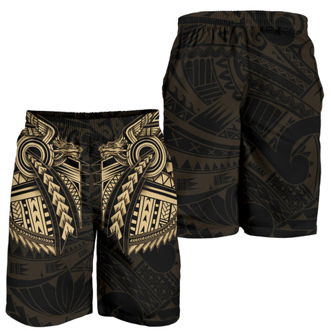New Zealand Maori Polynesian Dragon Tattoo Men Shorts - Gold K4