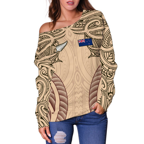 Image of Haka Moko Rugby Aotearoa Off Shoulder Sweater Th00 - 1st New Zealand