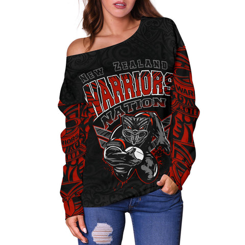 Image of New Zealand Warriors Off Shoulder Sweater Unique front