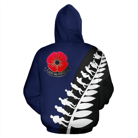 Lest We Forget New Zealand Hoodie with Navy mix Black and White - Back - For Men and Women