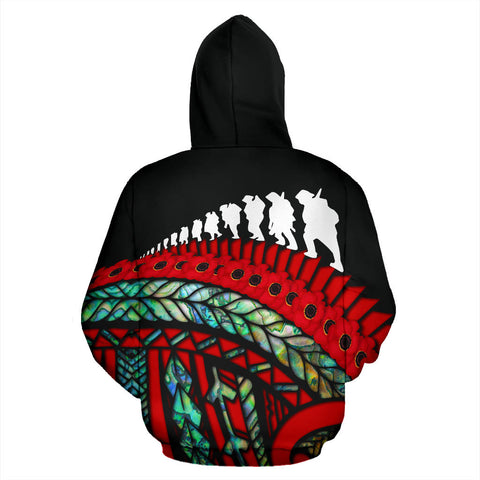 Anzac Soldiers New Zealand Zip Hoodie, Poppies Lest We Forget Maori Pullover Hoodie Paua K4 - 1st New Zealand