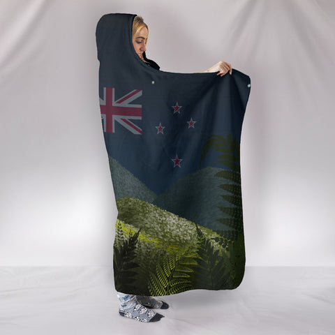 New Zealand Hooded Blanket Night Summer Landscape With Flag  TH1