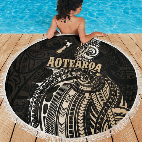 Maori Tattoo with Map New Zealand Beach Blanket K4 - 1st New Zealand