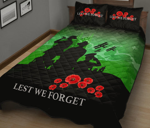New Zealand Quilt Bed Set, Lest We Forget Poppies Anzac Day Quilt And Pillows Cover K5 - 1st New Zealand