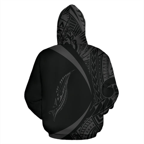 New Zealand Silver Fern Zip Hoodie Maori Tattoo Circle Style J95 - 1st New Zealand