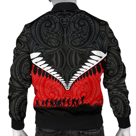 Image of New Zealand Anzac Day Men Bomber Jacket, Lest We Forget Silver Fern Red K4 - 1st New Zealand