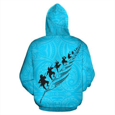 Image of Rugby Haka Fern Zip Up Hoodie Blue K4 - 1st New Zealand