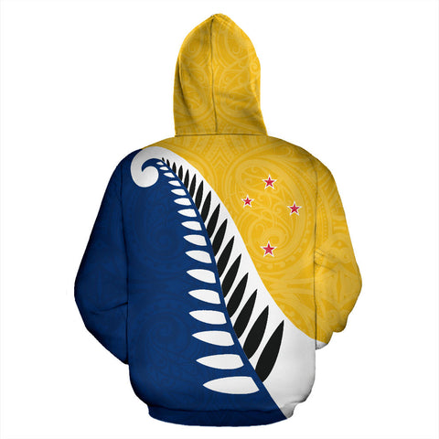 Koru Fern New Zealand Hoodie Yellow - Yellow And Navy Color - Back