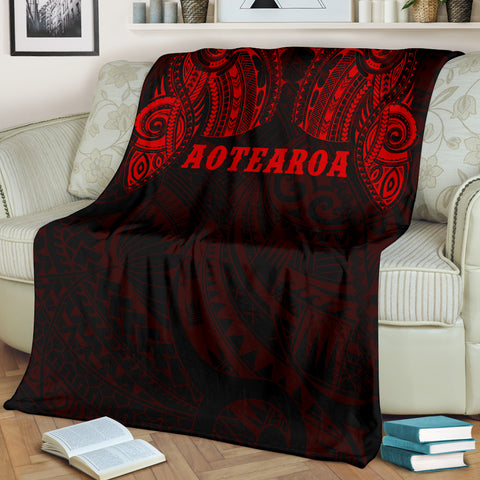 Image of Aotearoa Maori Tattoo Premium Blanket Red K4 - 1st New Zealand